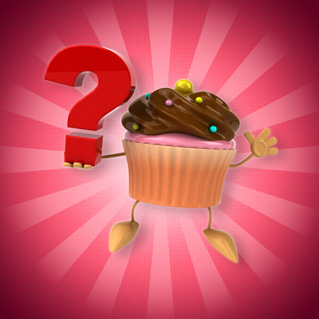 Chocolate cupcake holding a question mark