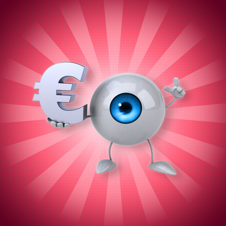 Eyeball holding a Euro symbol while pointing
