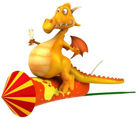 Dragon holding a wine glass on firecracker