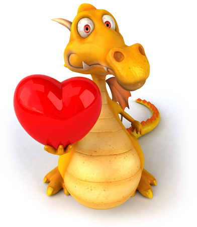 Dragon tenant un coeur Banque d'images - 78581143