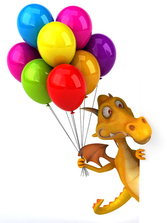 floating: Dragon holding a bunch of balloons