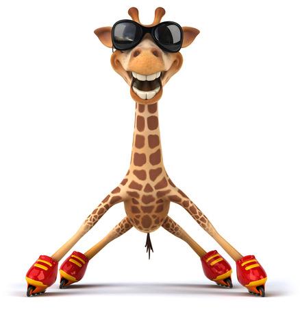 Girafa com óculos de sol em patins Foto de archivo