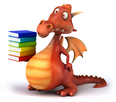 Dragon holding a stack of books