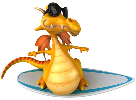 Dragon with shades on a surfboard Stock Photo