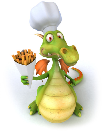 oily: Dragon with chef hat holding snacks