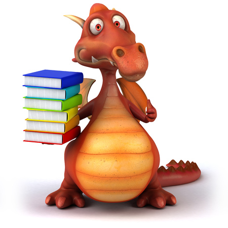 storybook: Dragon holding a stack of books