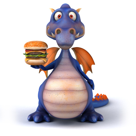 Dragon holding a burger
