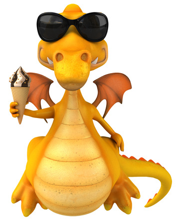 Dragon with shades holding an ice cream