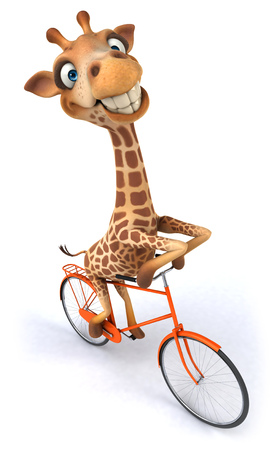 Giraffe on a bicycle Stock Photo