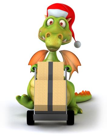 Dragon delivering parcels Stock Photo