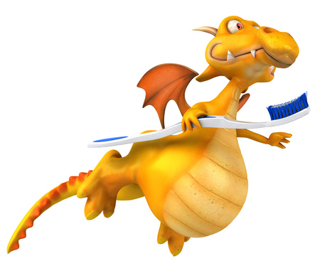Dragon holding a toothbrush