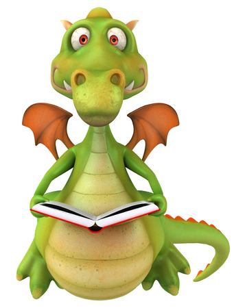 storybook: Dragon holding an opened book Stock Photo