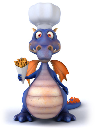 Dragon with chef hat holding snacks