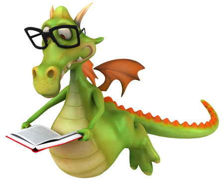 Dragon with specs holding an open book