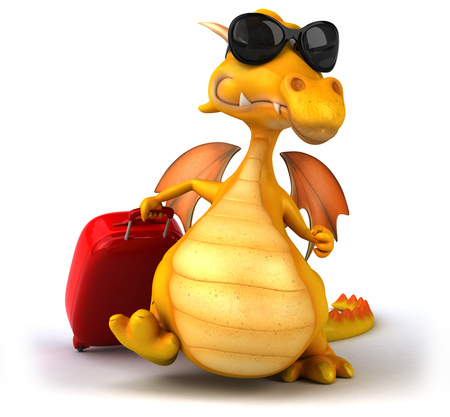 Dragon with shades pulling a luggage bag