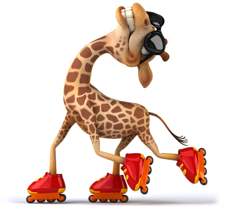 Giraffe with shades on roller skates
