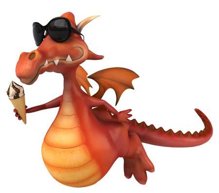 chic: Cartoon dragon with sunglasses and ice cream