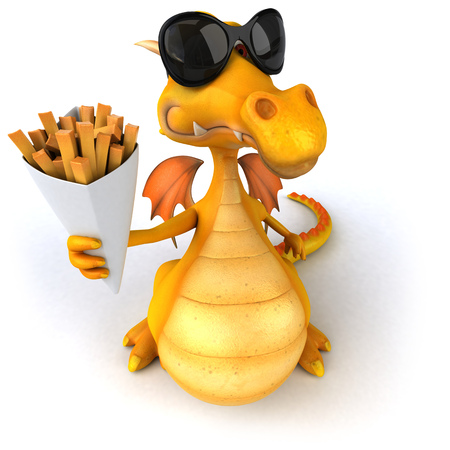 Dragon with sunglasses holding snacks