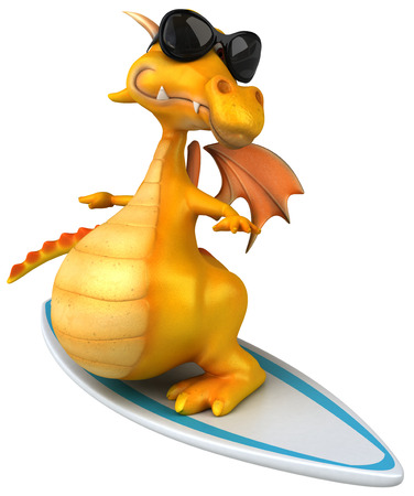 Dragon with shades on surfboard Stock Photo