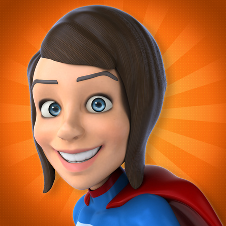 futuristic girl: Super woman Stock Photo