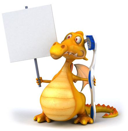 Cartoon dragon with placard and toothbrush