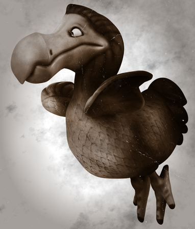 Black and white cartoon dodo