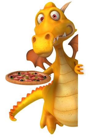 Cartoon dragon with pizza