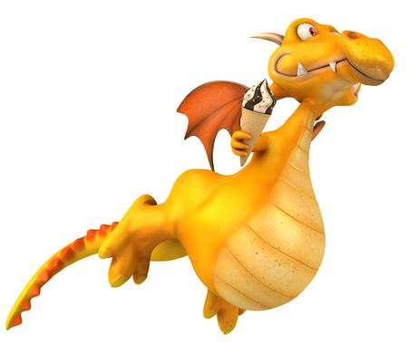 Cartoon dragon with ice cream
