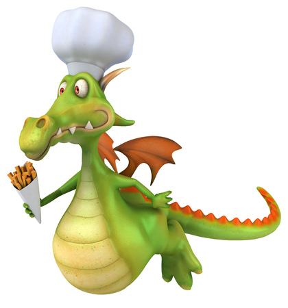 Cartoon chef dragon with french fries