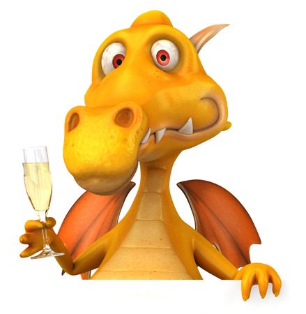 event party: Cartoon dragon with sparkling wine