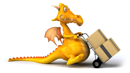 Cartoon dragon with trolley and boxes Stock Photo
