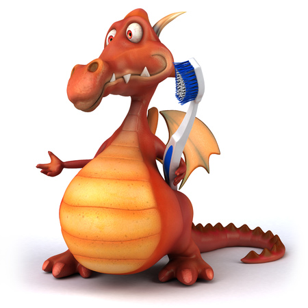 Cartoon dragon with toothbrush Stock Photo