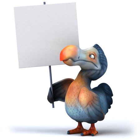Cartoon dodo with placard