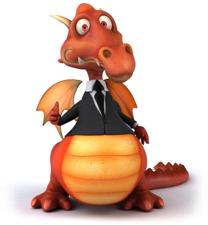 Cartoon dragon in business suit