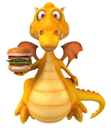 Cartoon dragon with burger