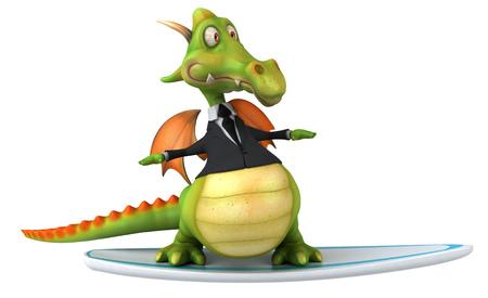 Cartoon dragon in a suit on surfboard