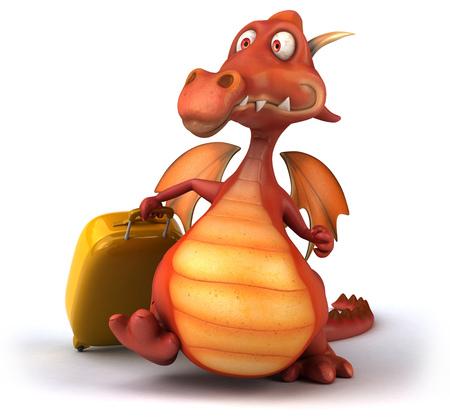 Cartoon dragon with luggage bag