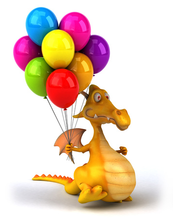 floating: Cartoon dragon with balloons Stock Photo