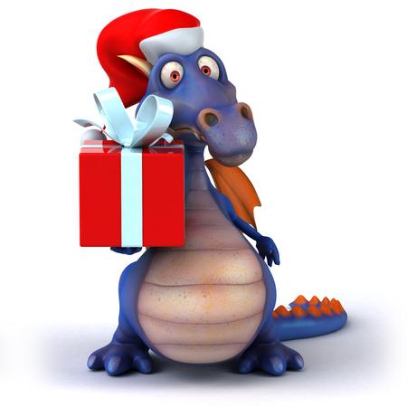 Cartoon dragon wearing Santa hat and present Stock Photo