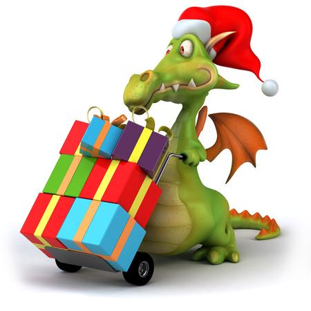 Cartoon dragon wearing Santa hat and presents