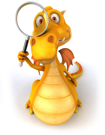 Cartoon dragon with magnifying glass