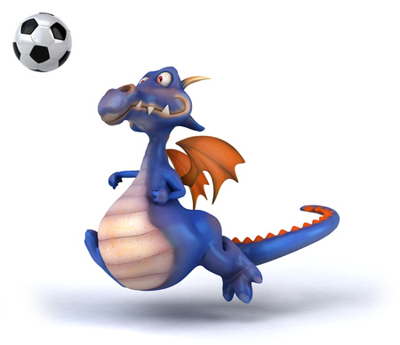 Cartoon dragon with football