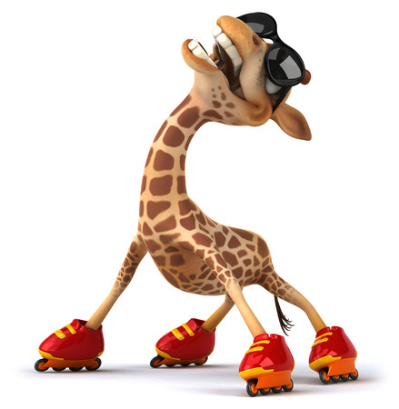 Cartoon giraffe wearing sunglasses and roller skates Stock Photo