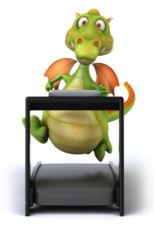 Cartoon dragon on treadmill Stock Photo