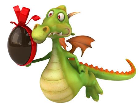 Cartoon dragon with chocolate Easter egg