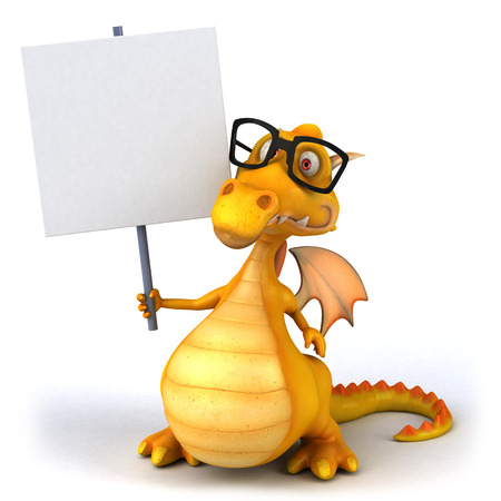 Cartoon dragon with glasses and placard Stock Photo
