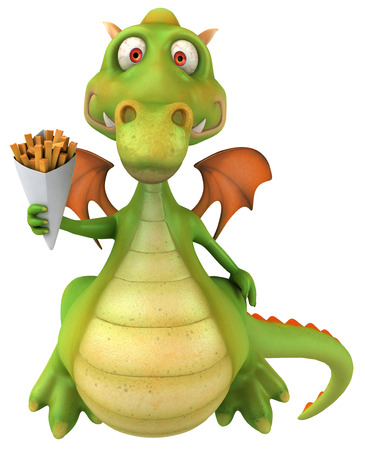 Cartoon dragon with french fries