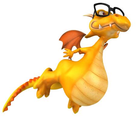 Cartoon dragon with glasses