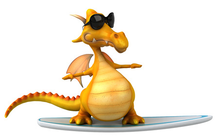 chic: Cartoon dragon wearing sunglasses on surfboard Stock Photo