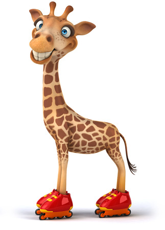 Cartoon giraffe with roller skates Stock Photo
